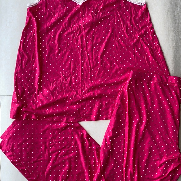 Forever 21 Pink with White Polka Dots Cami/pants Pajama Set Size Large